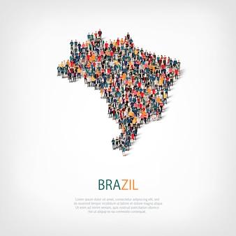 Pessoas mapeiam o país brasil
