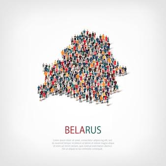 Pessoas mapeiam o país da bielorrússia