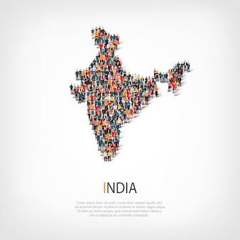 Pessoas mapeiam o país da índia