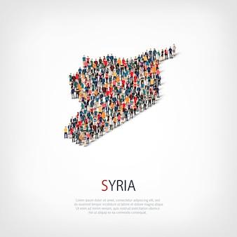 Pessoas mapeiam o país da síria