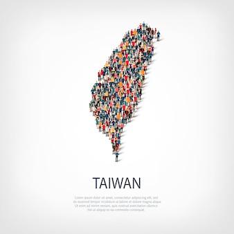 Pessoas mapeiam o país de taiwan