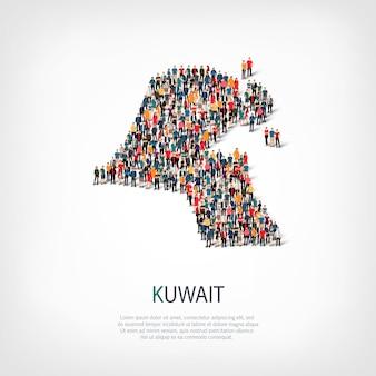 Pessoas mapeiam o país kuwait
