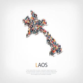 Pessoas mapeiam o país laos