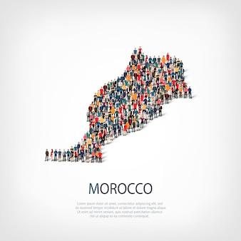 Pessoas mapeiam o país marrocos