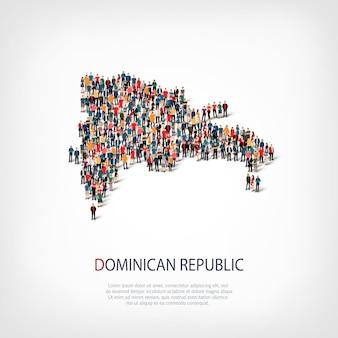 Pessoas mapeiam o país república dominicana Vetor Premium
