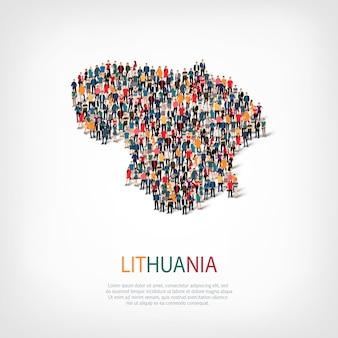 Pessoas mapeiam país da lituânia