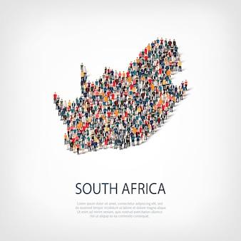 Pessoas mapeiam um país da áfrica do sul