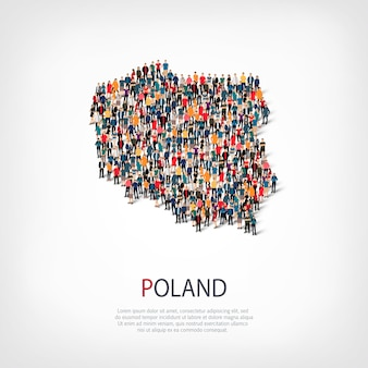 Pessoas mapeiam um país da polônia