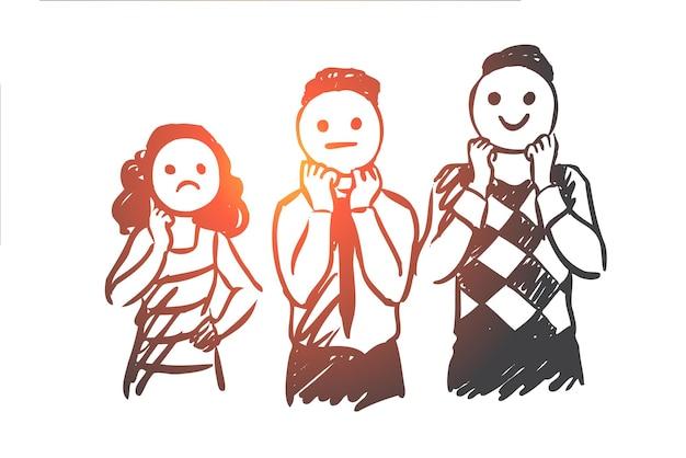 Pessoas, máscara, expressão, temperamental, conceito de rosto. mão desenhada pessoas usam máscara com esboço de conceito de emoções.