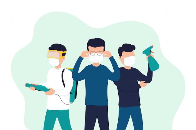 Pessoas mascaradas desinfetam objetos, combatem o vírus. proteção contra uma epidemia ou pandemia global.