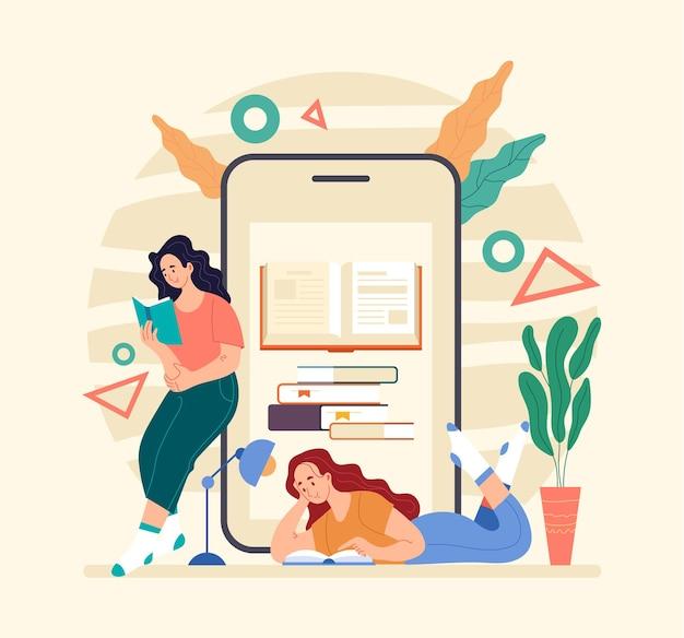 Pessoas meninas mulheres estudante lendo livro por smartphone leitor digital da web online flat