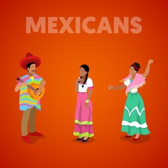 Pessoas mexicanas isométricas em roupas tradicionais. ilustração 3d plana vetorial