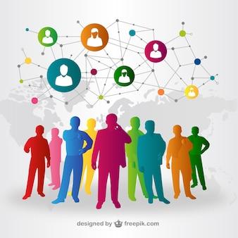 Pessoas mídias sociais interação vetor