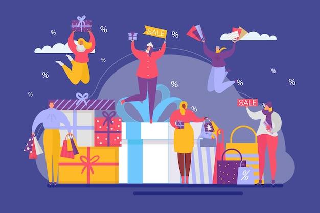 Pessoas minúsculas alegres personagem juntos em pé anúncio feriado caixa de presente venda feriado apartamento ve ...