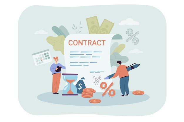 Pessoas minúsculas assinando contratos gigantescos. ilustração plana