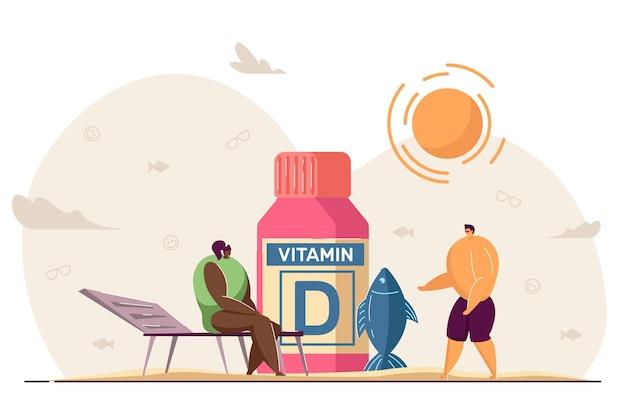 Pessoas minúsculas com fontes de vitamina d