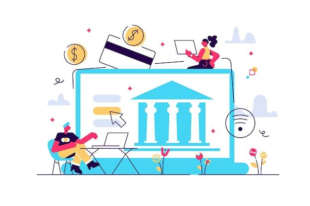 Pessoas minúsculas com laptop e transformação digital financeira.