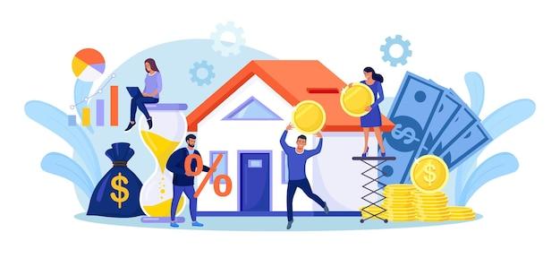Pessoas minúsculas comprando uma casa em dívida. pessoas investindo dinheiro em propriedades. empréstimo hipotecário, propriedade e poupança. o lar é como um cofrinho. investimento imobiliário, compra de casa.
