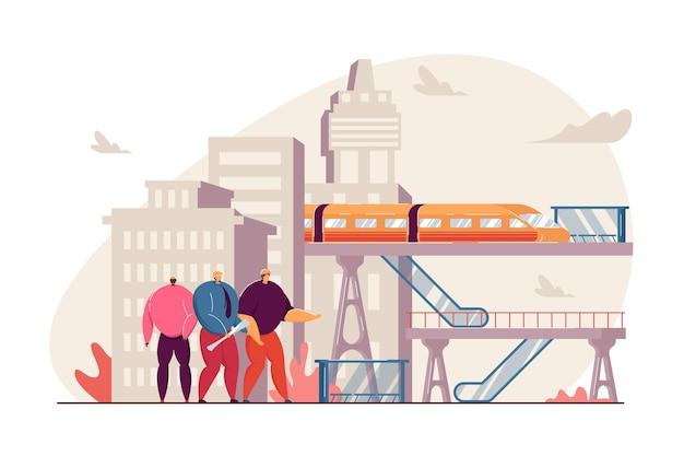 Pessoas minúsculas conduzindo ilustração plana de trabalho de construção