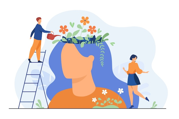 Pessoas minúsculas e lindo jardim de flores dentro de ilustração plana isolada cabeça feminina.