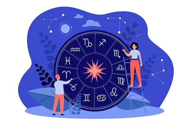 Pessoas minúsculas fazendo horóscopo, estudando os signos do zodíaco ou o calendário antigo, criando um mapa natal contra estrelas e constelações no céu noturno