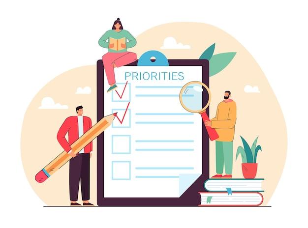 Pessoas minúsculas fazendo uma lista de verificação de prioridades ilustração plana