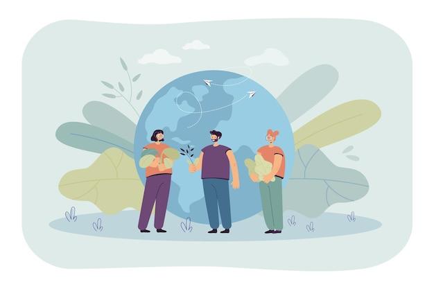 Pessoas minúsculas perto da ilustração plana do globo terrestre