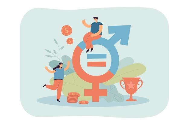 Pessoas minúsculas perto de dinheiro e gênero assinam ilustração plana