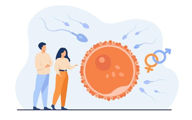 Pessoas minúsculas planejando ilustração em vetor plana bebê. desenvolvimento do embrião dos desenhos animados e visualização simbólica da reprodução humana saudável. fertilidade e conceito de paternidade