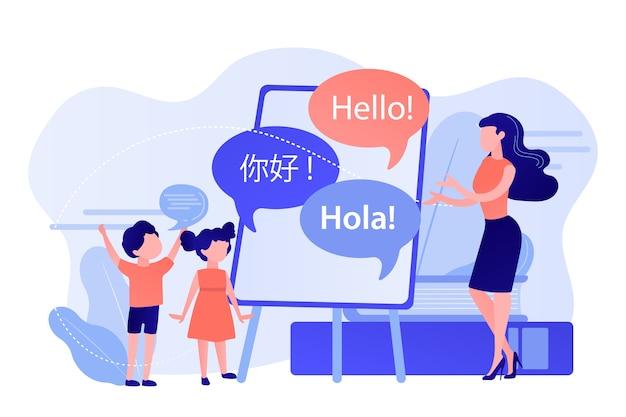 Pessoas minúsculas, professor e crianças no acampamento aprendendo inglês e chinês