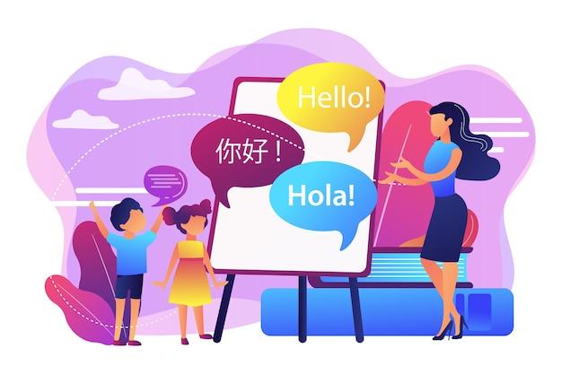 Pessoas minúsculas, professor e crianças no acampamento aprendendo inglês, espanhol e chinês