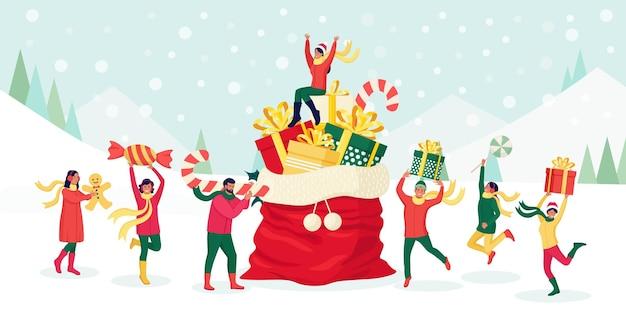 Pessoas minúsculas se preparam para a celebração do feriado de natal e ano novo. os personagens carregam uma enorme bengala de doces, uma caixa de presente, doces e um homem-biscoito perto do grande saco do papai noel com uma pilha de presentes e decoração festiva