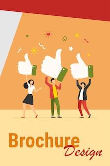 Pessoas minúsculas segurando polegares para cima ilustração vetorial plana. clientes de desenhos animados ou clientes dando suporte, avaliação de avaliação e feedback. sucesso empresarial e conceito de qualidade de serviço