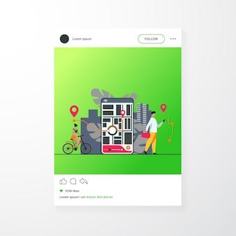Pessoas minúsculas usando aplicativos móveis com mapa de ilustração vetorial plana isolada ao ar livre. telefone cartoon com aplicativo de rastreamento de navegação