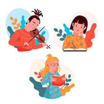 Pessoas modernas fazendo atividades culturais conjunto