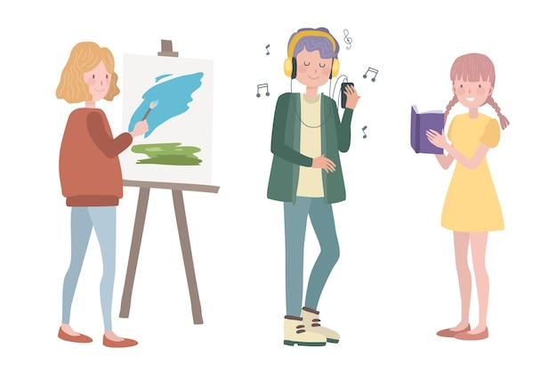 Pessoas modernas fazendo ilustração de atividades culturais