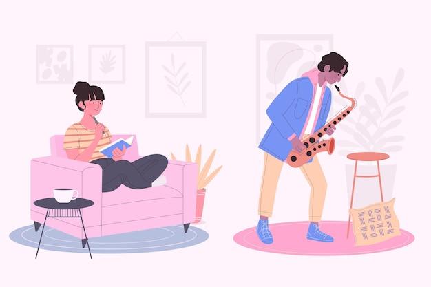 Pessoas modernas, lendo e tocando saxofone