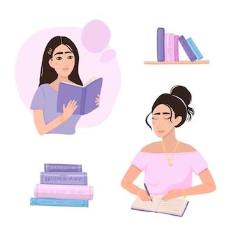 Pessoas modernas, lendo vários livros
