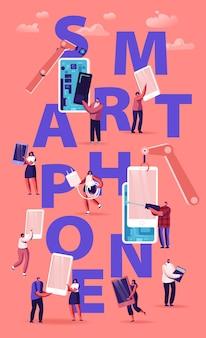 Pessoas montando e usando o conceito de smartphones. multidão de homens e mulheres segurando celulares, enviando mensagens de texto, falando e ouvindo música. ilustração plana dos desenhos animados
