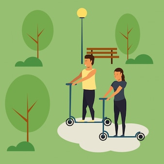 Pessoas, montando, scooters, em, parque