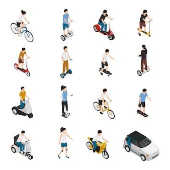 Pessoas montando veículos ecológicos pessoais