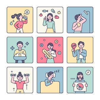 Pessoas mostrando dicas para aumentar a imunidade infográfico personagem ilustração em vetor estilo design plano