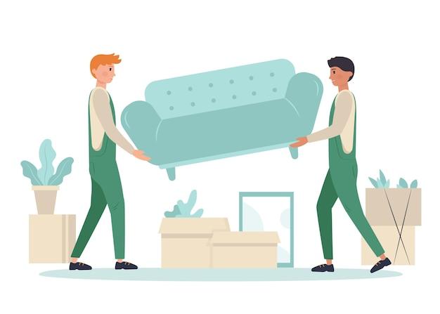 Pessoas movendo móveis ilustrados
