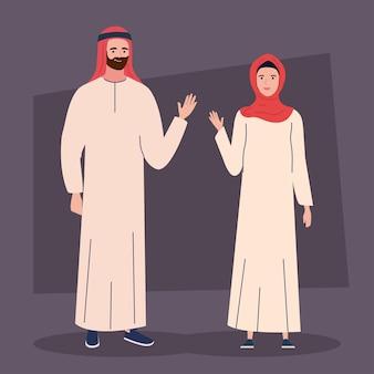 Pessoas muçulmanas com roupa tradicional
