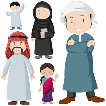Pessoas muçulmanas em ilustração de traje tradicional