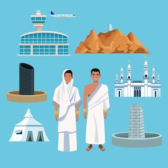 Pessoas muçulmanas no hajj mabrur viajam conjunto de ícones