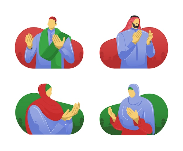 Pessoas muçulmanas orando mãos ilustração plana
