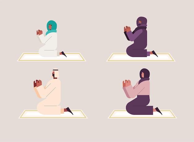 Pessoas muçulmanas orando