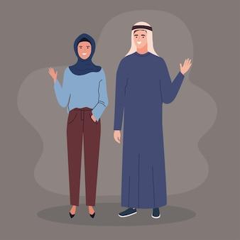 Pessoas muçulmanas usam roupas tradicionais
