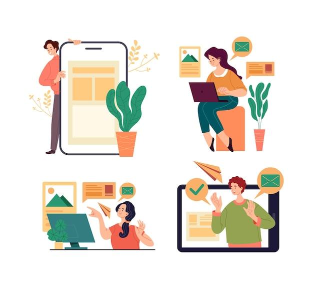 Pessoas mulher homem escritório trabalhadores estudantes personagem usando dispositivos digitais laptop telefone para trabalho e educação.